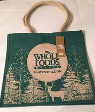 Whole Foods UK Christmas Jute Bag Tote Holiday  Green Deer Tree Reuse England