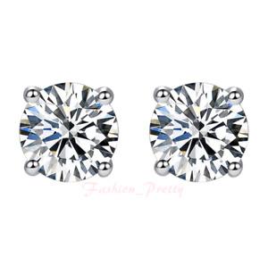 Pretty 2 Carat Moissanite Stud Earrings Set in 14 Karat White Gold & Screwbacks