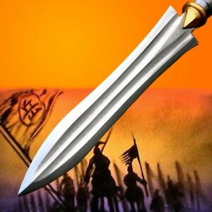 Hand Forged Folded pattern steel Spearhead Overlord Spear pike lance Sword #054