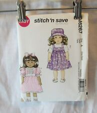 """MCCALL SIITCH N SAVE EASY 18"""" DOLL CLOTHES PATTERN DRESS JUMPER TOP HAT  #6267"""