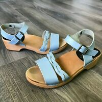 Cape Clogs Light Blue Tan Women's Open Toe Sandal Sz US 9 EU 40 Made in Sweden