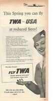 1957 Original Advertising' Twa America Airlines Company Aerial This Spring You