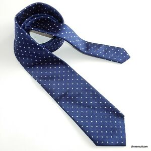 T.M. Lewin Silk Tie Navy Blue with White diamond pattern Necktie 9cm