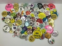 Huge Lot Of 80+ Pinbacks Asst Sizes Subjects Pins Buttons Junk Drawer  O4