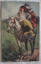HORSE LOVE BRIDE OF MUSKETEER A. ROBAUDI ARTIST SIGNED  POSTCARD 1918