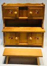 Vintage doll poupée puppe pine Kast armoire closet schrank + bench bank