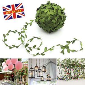 2* Artificial Ivy Vine Leaf Silk  Ribbon  Fake Foliage Flowers Wreath 20M#SS