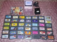 Nintendo Gameboy Advance GBA SP AGS-101 Pearl Pink w/Charger + 42 kids games LOT