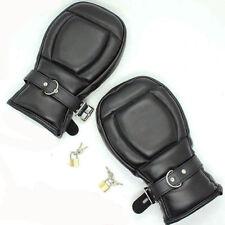 Lockable Quality Leather Sensory Deprivation restraints Mitts gloves Bondage