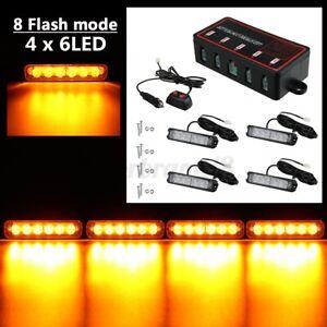4Pcs 6 LED Car Truck Emergency Warning Strobe Amber Flashing Beacon 12/24V Light