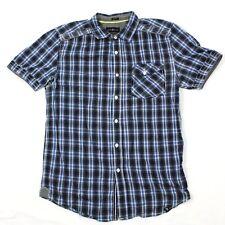 Marc Ecko Slim Fit Medium Button Up Short Sleeve Cut & Sew Frocket Blue Plaid
