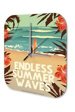 Fun Wall Clock Vintage Decor  Beach surfer surfboard hibiscus flowers Acryl Acry