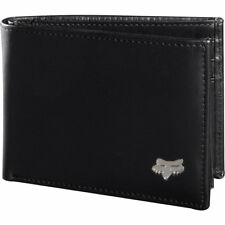 FOX NEW Mens Bi-Fold Leather Wallet Black BNWT