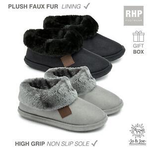 Ladies Faux Fur Slippers Fluffy Winter Warm Womens Mule Bootie Size 4 5 6 7 8