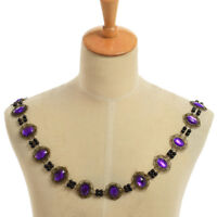 Tudor Elizabethan Mens Livery Chain Collar Of Office Cosplay Necklace Purple