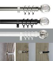 Fluted Ball 25-28 mm Telescopic Extendable Curtain Pole Set Holdbacks Available