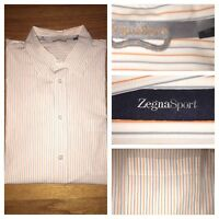ZEGNA SPORT Men's Striped L/S 100% Cotton Shirt Size XL