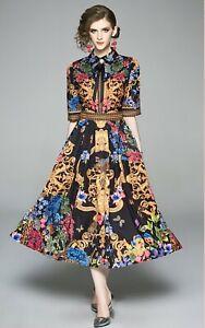 Black Blue White Zebra Vtg Gold Chain Ornate Print  Winter Midi Broach  Dress 12