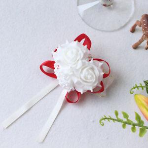 Rose Wrist Corsage Bracelet Flowers Bridal Bridesmaid White Wedding Accessories