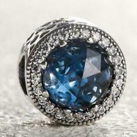 New Authentic Pandora Silver Charm Radiant Hearts Moonlight Blue Bead 791725NMB