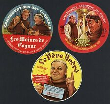 Set of Three Original French Camembert Cheese Labels, Monks, 634