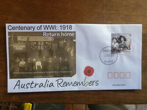 2018 CENTENARY WWI RETURN HOME ILLUSTRATED FDC FIRST DAY COVER