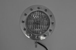 "Motorbike Headlight 5"" Solid Polished Aluminium Bottom Mount Custom Build HD"