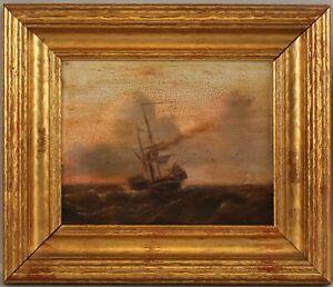 Antique 19thC European Maritime Nautical Seascape Sailing Steamship Oil Painting