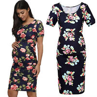 Women Pregnant Short Sleeves Round Neck Shirt Dress Floral Mini Bodycon Dresses