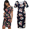 Women Maternity Party Floral Print Short Sleeve Bodycon Dress Pregnancy Casual