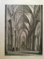 1835 - York Cathedral - View Of The Nave.  Robert Garland.