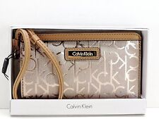 Calvin Klein Logo Wristlet Rose Gold Metallic CK Logo Top Zip Clutch New! NWT