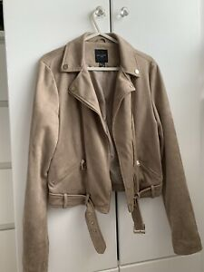 Womens New Look Camel Faux Suede Jacket Size 12