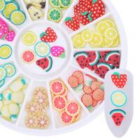 12Muster 3D Frucht Fimo Scheibe DIY Bunte Nagel Kunst Aufkleber Tipps Dekoration