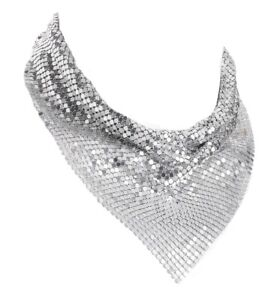 Silver Chain Mail Design Triangle Metal Necklace Women Girls Dress Jewelry Gift