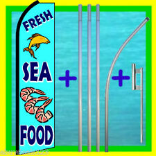 FRESH SEA FOOD SWOOPER FLAG + 15' TALL POLE + MOUNT Feather Flutter Bow Banner