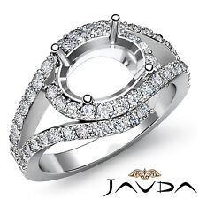 Diamond Anniversary Oval Shape Semi Mount Ring Platinum 950 Curve Shank 0.63Ct