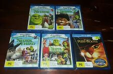 NEW & SEALED Shrek 3D + 2D Complete 5 Movie Collection - Blu Ray w/Puss in Boots