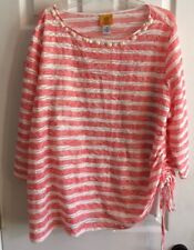 Ruby Rd. 3/4 Sleeves Lined Coral & White Stripe Beaded Necklin Sz 2X