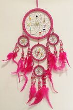 NEW 5 RING NATIVE DREAM CATCHER IN PINK BEADS MAIN RING 12CM / dcbead12triPI
