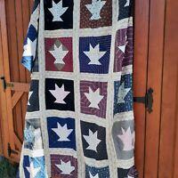 Vintage Quilt top 75 x 86 Cactus Basket farmhouse folk art handstitched