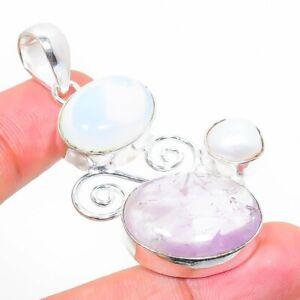 """Amethyst, Fire Opal Gemstone 925 Sterling Silver Jewelry Pendant 1.97"""" w241"""