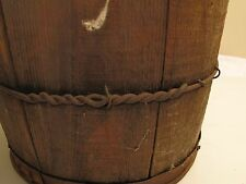 ANTIQUE AAFA 1830'S STAVED WOODEN BUCKET PAIL PLANTER WRAPPED METAL BAND