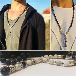 Men Long Beaded Necklace With Howlite & Agate Stones, Mala Chain. Gift For Men
