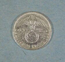 1937-F  NAZI GERMANY 2 MARK COIN - SWASTIKA - SILVER