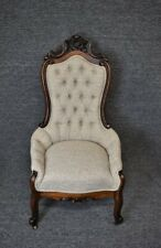 Vintage L Mayer Victorian French Country Walnut Carved Parlor Chair