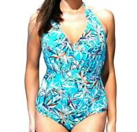 Swimsuits For All Women's Swimsuit One Piece Size 18 Halter Blue