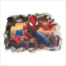 Amazing Cool Spiderman Wall Sticker Boys Kids Bedroom Mural Art Wallpaper Decal