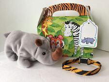 """Four Piece Gift Set: TY Beanie Baby """"SPIKE"""" the Rhino, Box, Bracelet + Tag"""