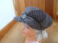 MONSOON ACCESSORIZE BROWN WOOL TWEED X WOVEN BAKER BOY PEAKED HAT HOTCHPOTCH CAP